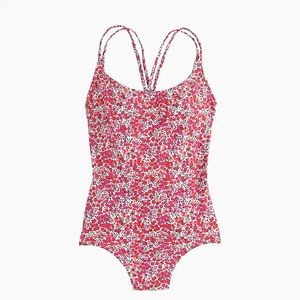 J. Crew pink floral one piece swimsuit